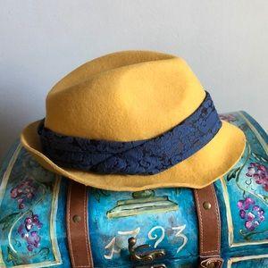 Anthropologie, Mustard and navy wool fedora